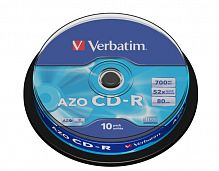 CD-R Verbatim 700Mb DL+ 52x AZO Crystal Cake Box 10шт 43429