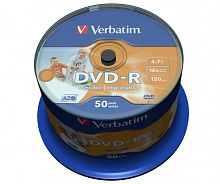 DVD-R Verbatim 4.7Gb 16x Wide Photo Inkjet Printable Cake Box 50шт 43533