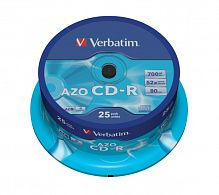 CD-R Verbatim 700Mb DL+ 52x AZO Crystal Cake Box 25шт 43352