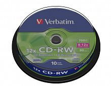 CD-RW Verbatim 700Mb 8x-12x Cake Box 10шт 43480
